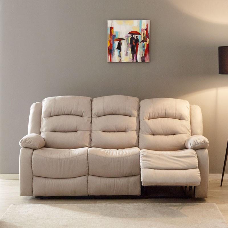 Canapé Relax manuel 3 places tissu beige - Univers Salon et Assises : Tousmesmeubles