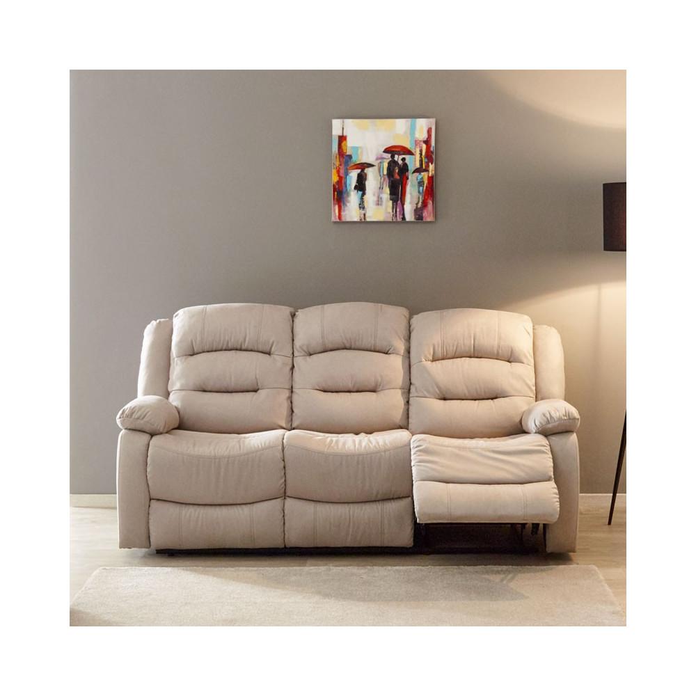 canap relax manuel 3 places tissu beige nerval univers du salon. Black Bedroom Furniture Sets. Home Design Ideas