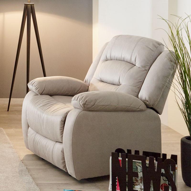 Fauteuil Relax manuel tissu beige - Univers Salon et Assises : Tousmesmeubles