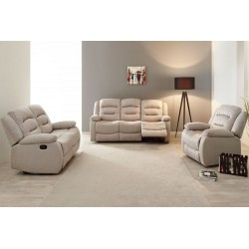 Salon Complet Relax manuel tissu beige - Univers Salon et Assises : Tousmesmeubles