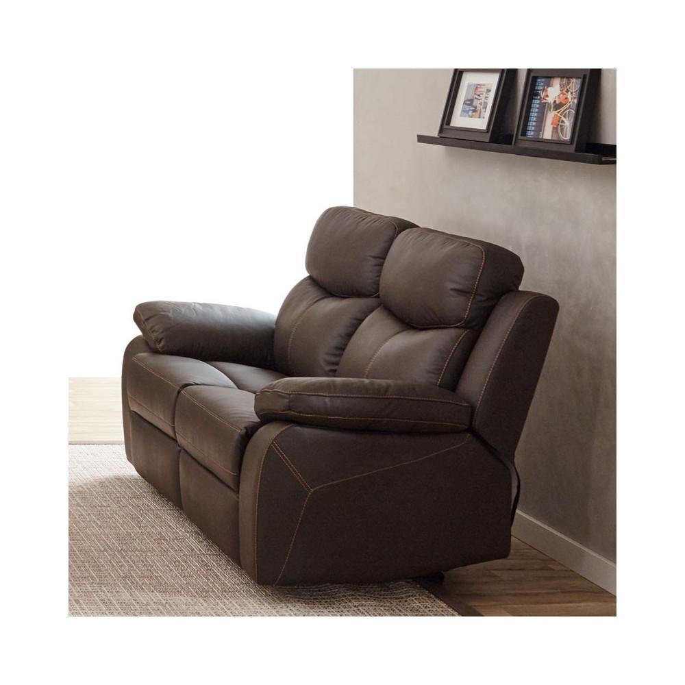 Canapé Relax électrique 2 places Cuir Brun ESTHER - Univers du Salon