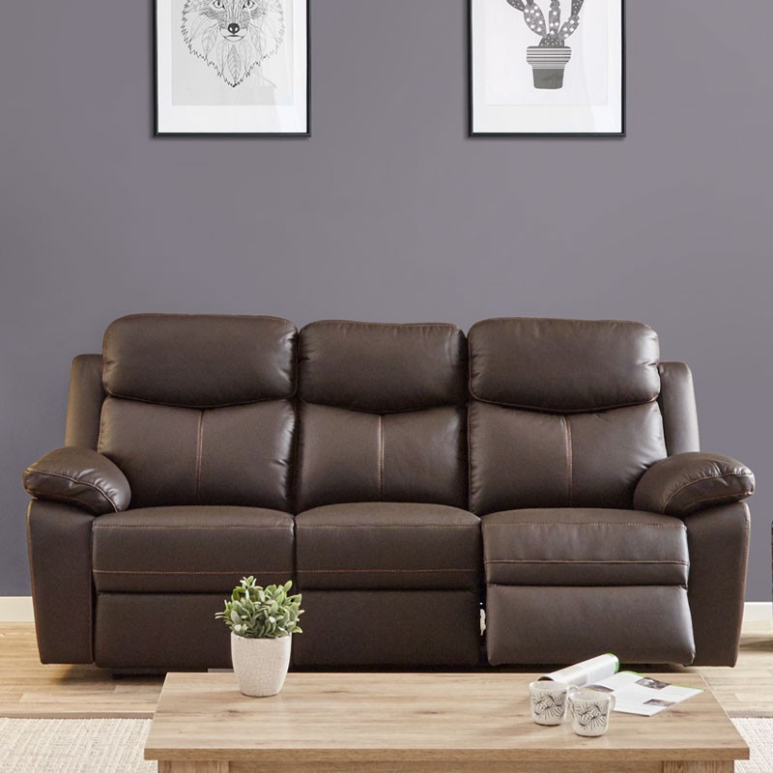 Salon complet relax lectrique cuir brun esther univers for Salon moderne complet