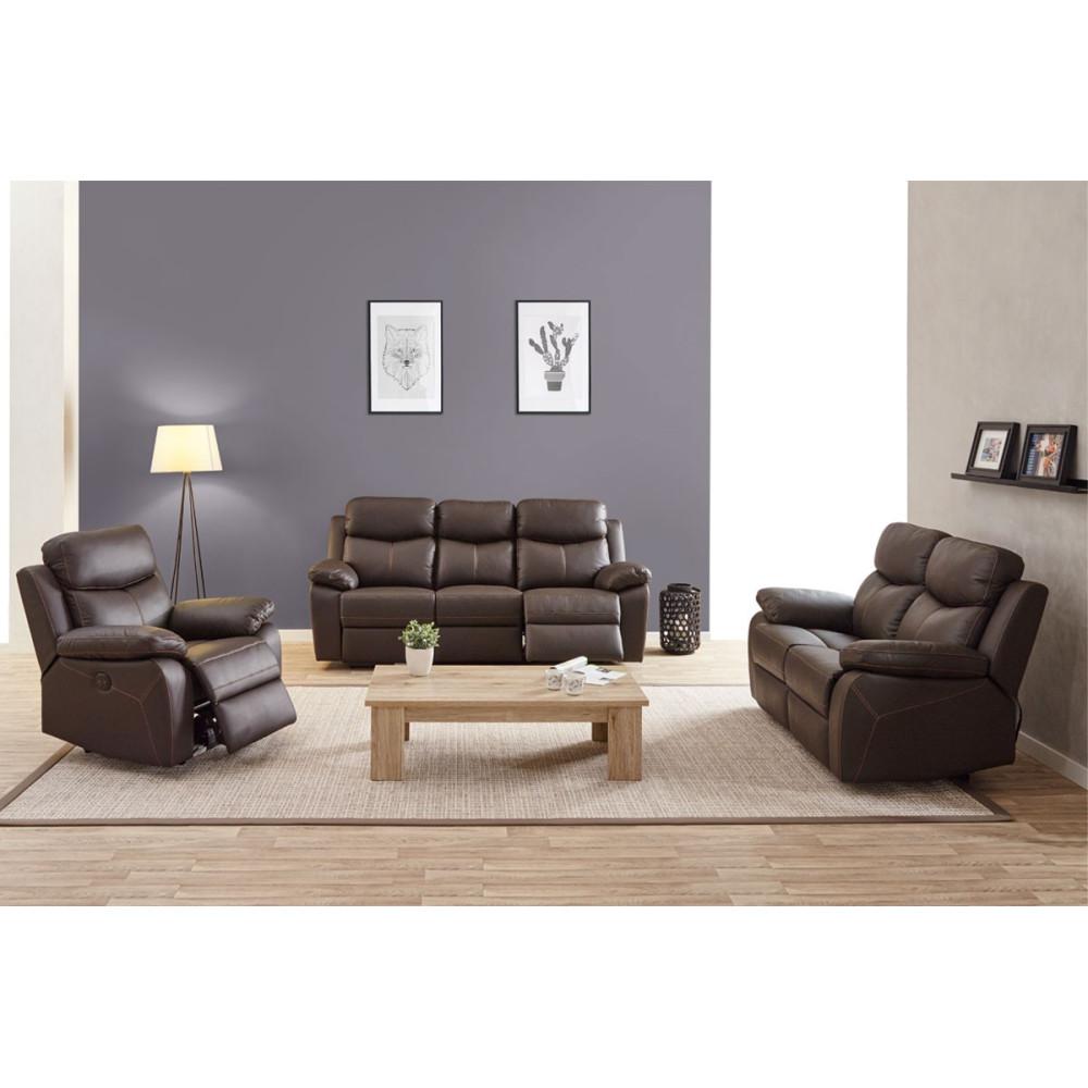 salon complet relax lectrique cuir brun esther univers. Black Bedroom Furniture Sets. Home Design Ideas