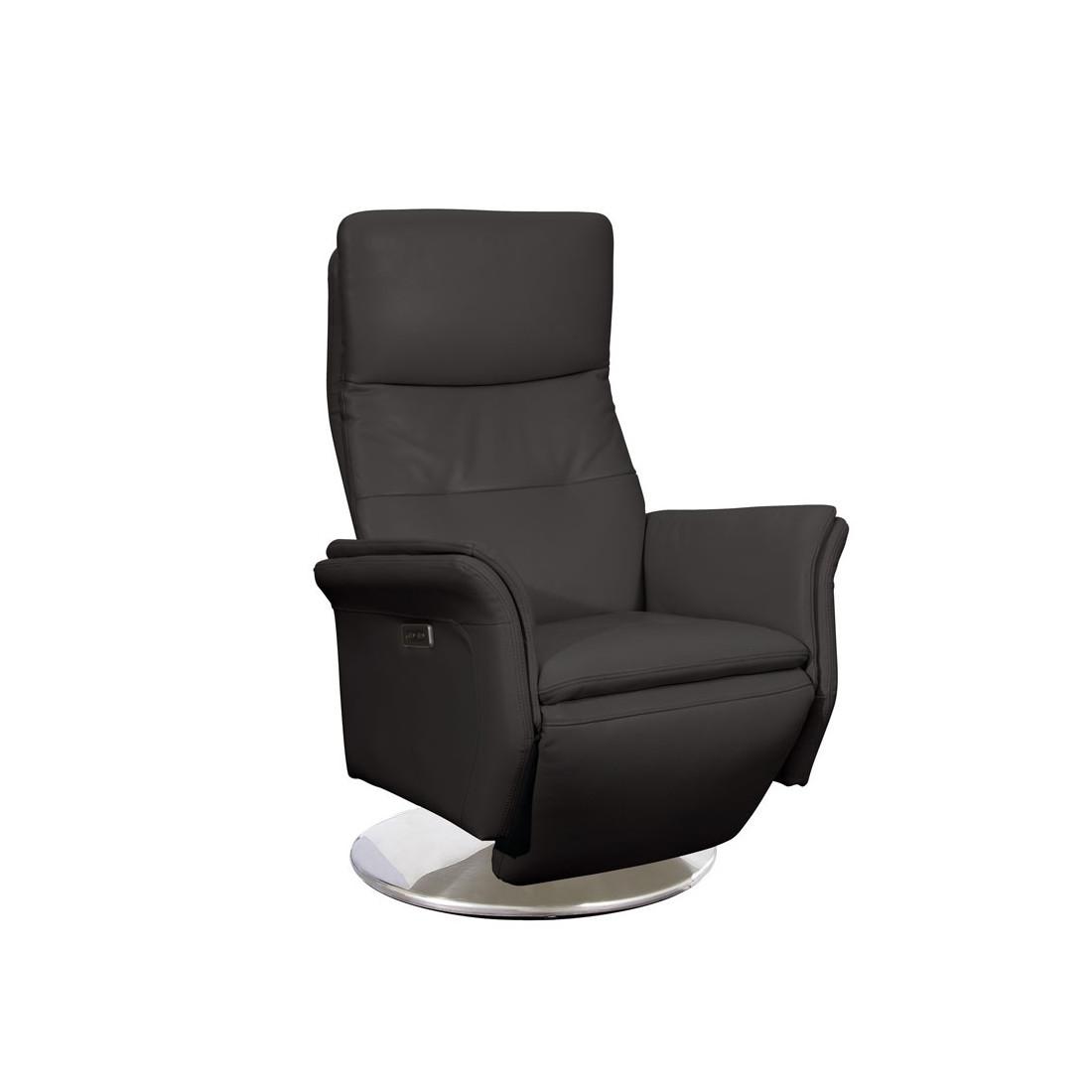 fauteuil de relaxation cuir anthracite flora tousmesmeubles assises. Black Bedroom Furniture Sets. Home Design Ideas