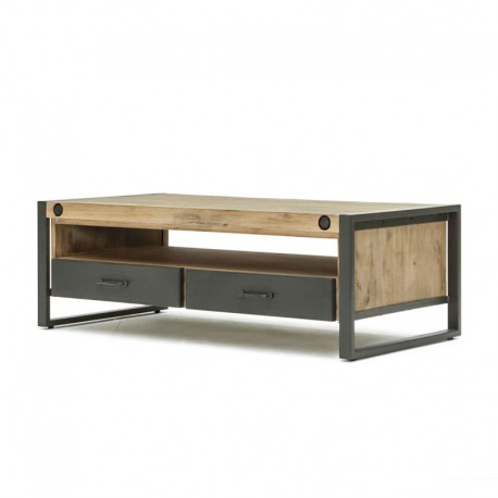 table basse 2 tiroirs 1 niche industriel bois mtal univers salon tousmesmeubles - Table Salon Industrielle