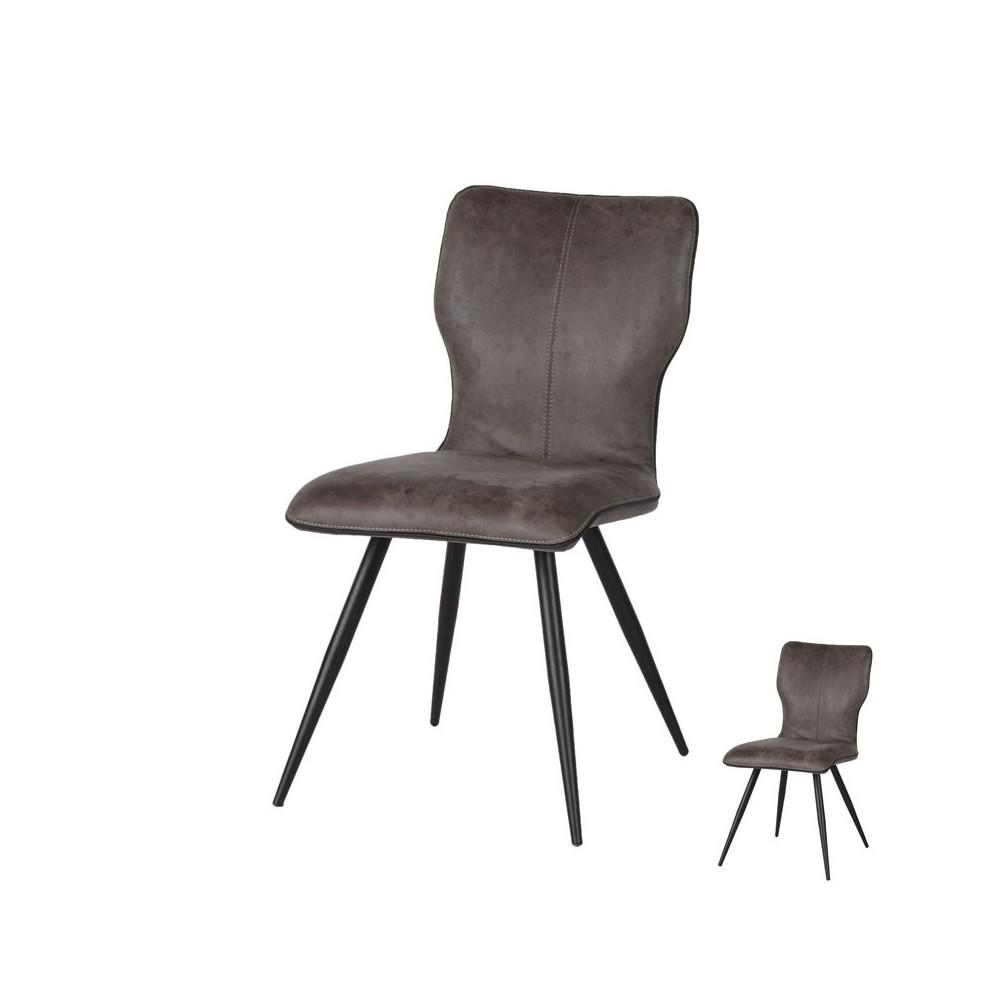 Duo de chaises Gris pieds métal contemporain - Univers Assises et salle à Manger : Tousmesmeubles