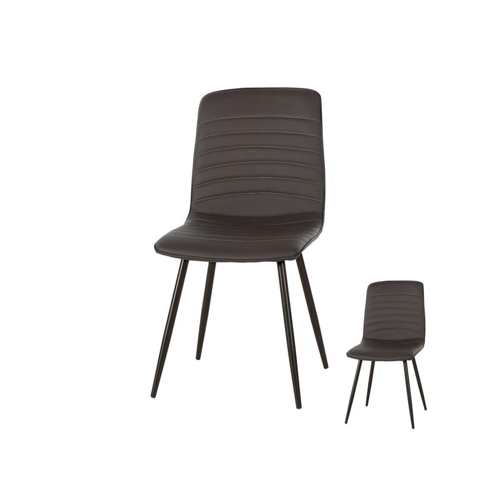 Duo de chaises Simili cuir Noir contemporain - Univers Assises et Salle à Manger : Tousmesmeubles