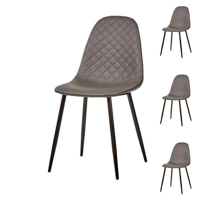 Quatuor de chaises Simili cuir Gris contemporain matelassé - Univers Assises et Salle à Manger : Tousmesmeubles