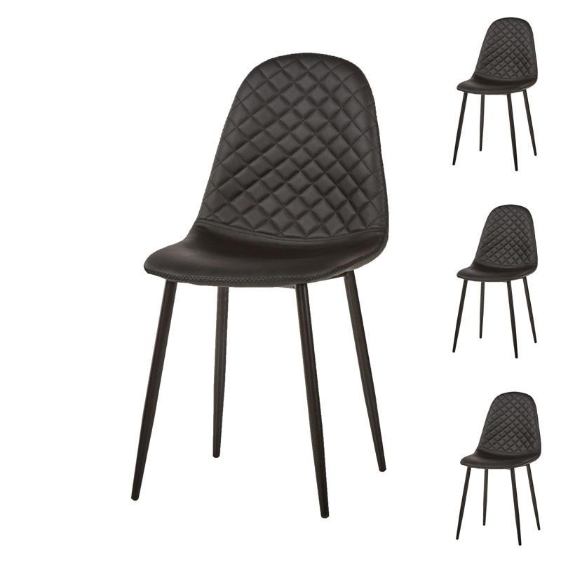 Quatuor de chaises Simili cuir Noir moderne matelassé - Univers Salle à Manger et Assises : Tousmesmeubles