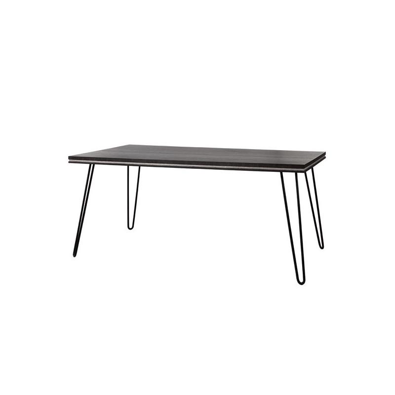 Table de repas 180 cm bois gris pieds épingles contemporain - Univers Salle à Manger : Tousmesmeubles
