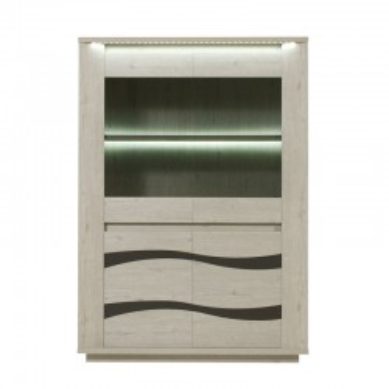 Argentier 4 portes à LEDs contemporain bois gris - Univers Salle à Manger : Tousmesmeubles