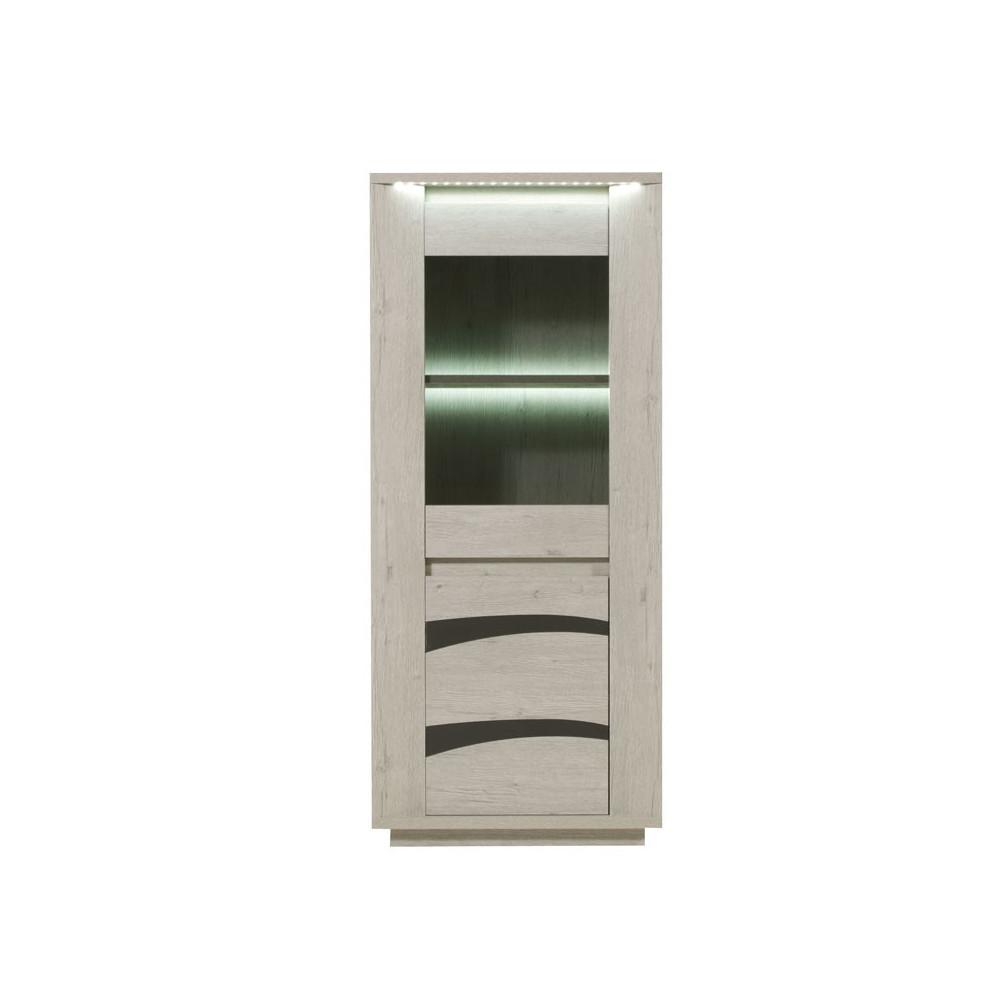 Vitrine 2 portes à LEDs bois gris clair contemporain - Univers Salle à Manger : Tousmesmeubles