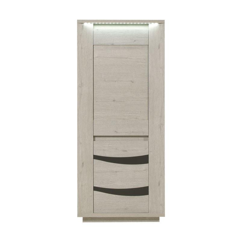Armoire de Salon 2 portes à LEDs bois gris clair moderne - Univers Salle à Manger : Tousmesmeubles