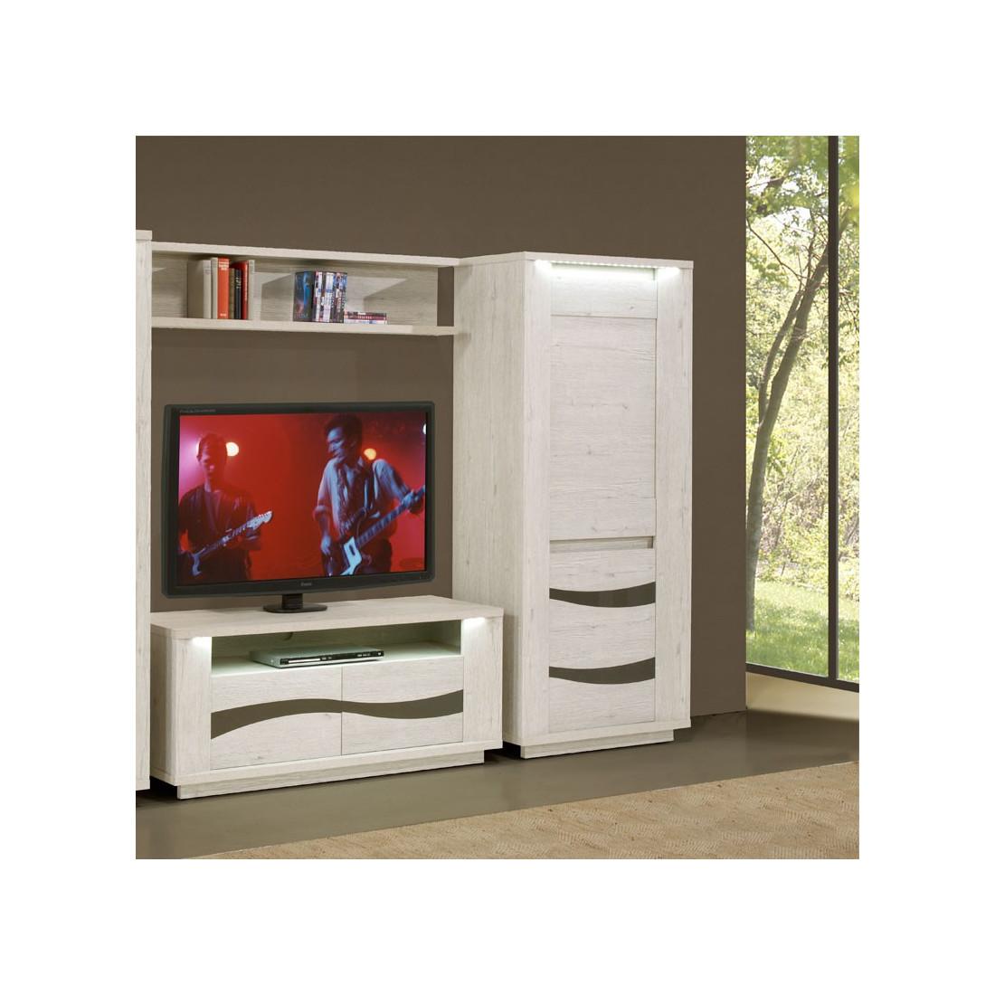 armoire de salon 2 portes leds zurich univers de la. Black Bedroom Furniture Sets. Home Design Ideas