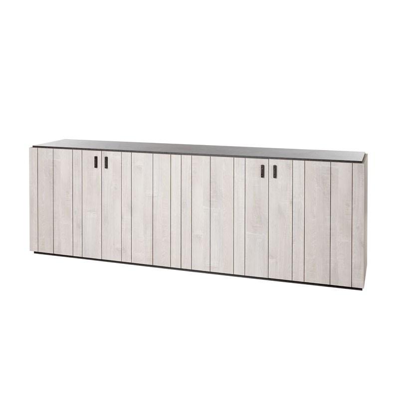 Buffet 4 portes moderne bois gris clair - Univers Salle à Manger : Tousmesmeubles
