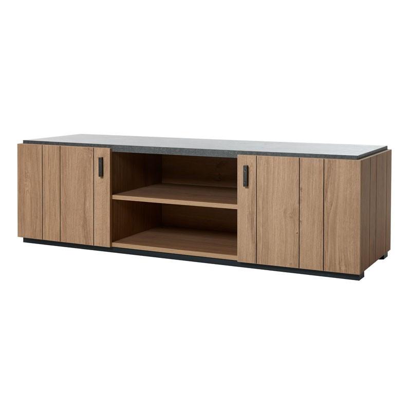 Meuble TV 2 portes 2 niches bois moderne - Univers Salon : Tousmesmeubles
