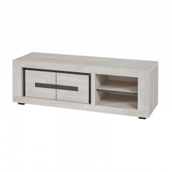 Meuble TV 2 portes 2 niches bois gris moderne - Univers Salon : Tousmesmeubles