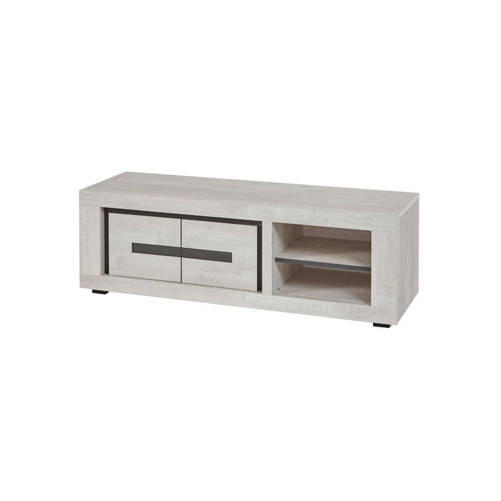 Meuble TV 2 portes 2 niches bois gris moderne - Univers Salon : Tousmesmeubles