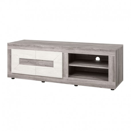 Meuble TV 2 niches bois gris clair moderne - Univers Salon : Tousmesmeubles