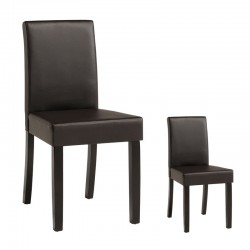 Duo de chaises Simili Cuir Marron - WINNIE