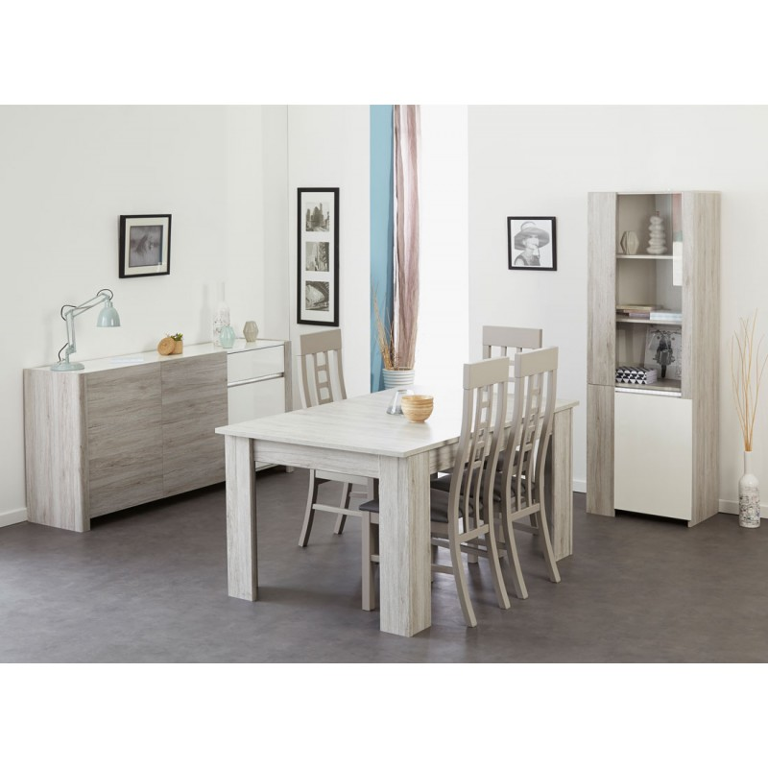 Salle manger compl te gris blanc brillant leo n 1 for Salle a manger gris blanc