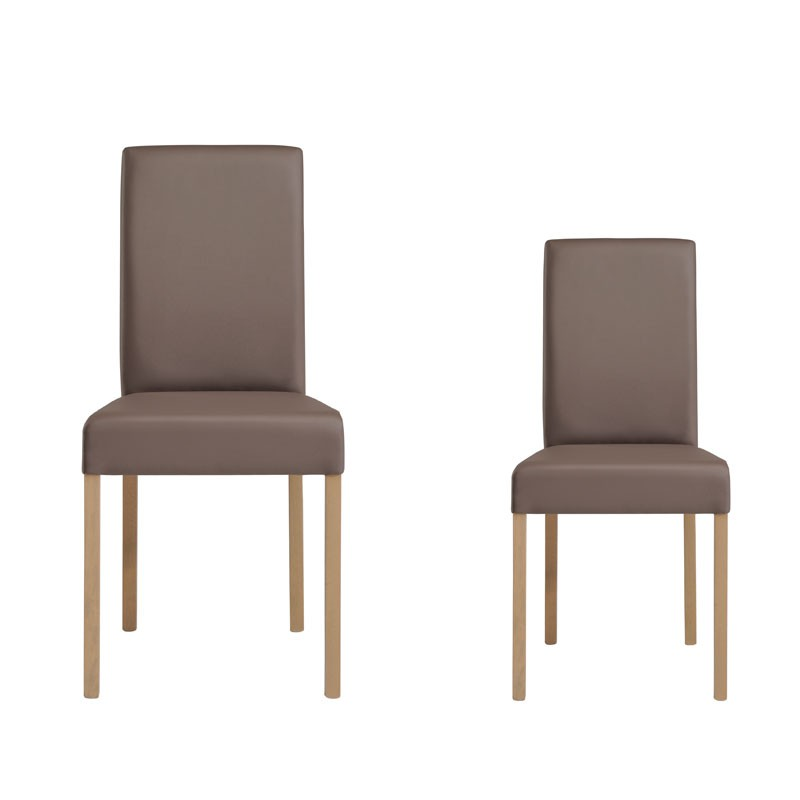 Duo de chaises simili cuir marron cleo salle manger for Chaise salle a manger simili cuir marron