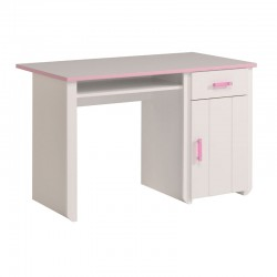 Bureau 1 porte 1 tiroir Rose/Blanc - BEAUTY