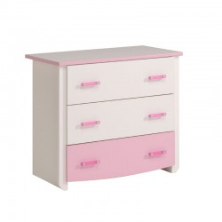 Commode 3 tiroirs Rose/Blanc - BEAUTY