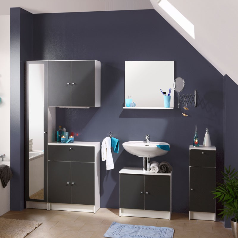 ensemble complet meubles salle de bain blanc clac n 1. Black Bedroom Furniture Sets. Home Design Ideas