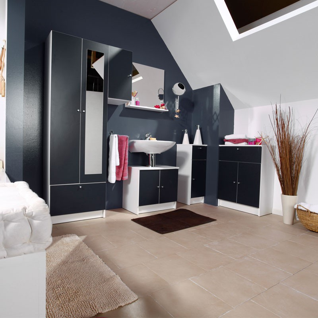 Ensemble complet meubles salle de bain blanc clic n 2 salle de bain - Meuble salle de bain complet ...
