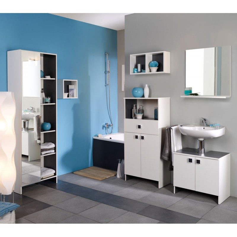 ensemble complet meubles salle de bain blanc hic n 1. Black Bedroom Furniture Sets. Home Design Ideas