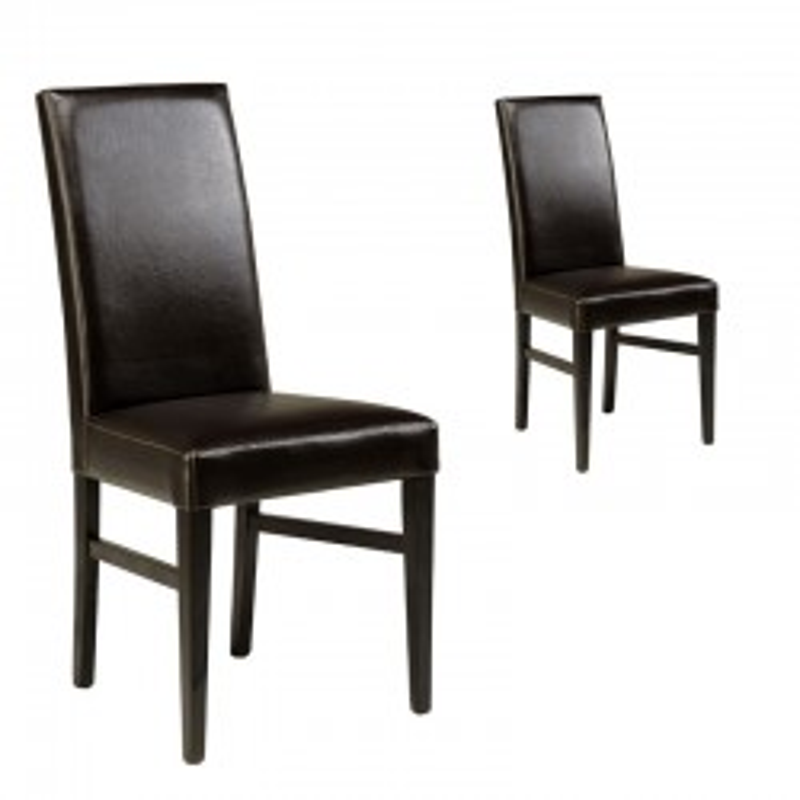 Duo de chaises Simili Cuir Wengé - BEA
