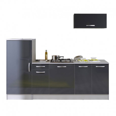 Ensemble meubles de cuisine anthracite brillant salsy n 2 for Meuble complet cuisine