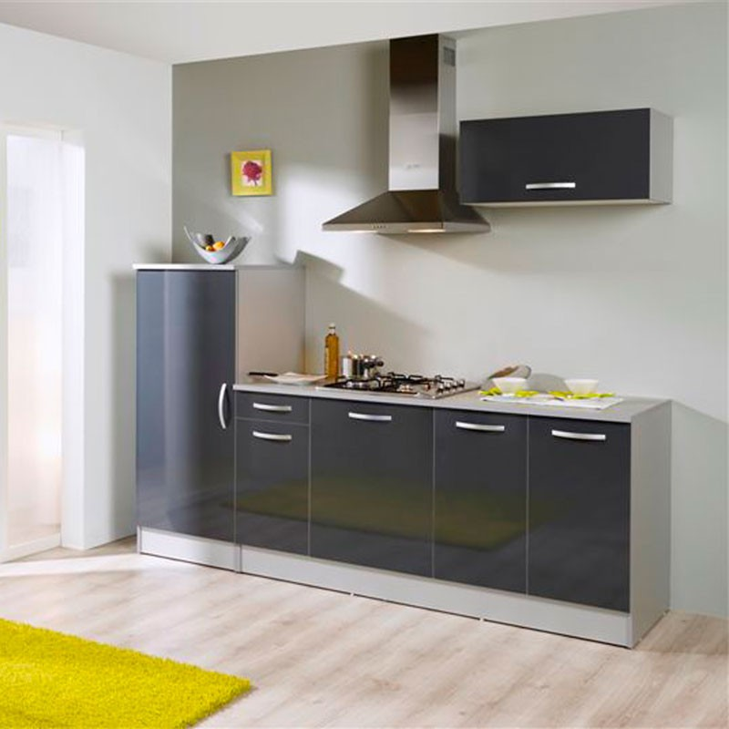 Ensemble meubles de cuisine anthracite brillant salsy n 2 for Meuble cuisine complet