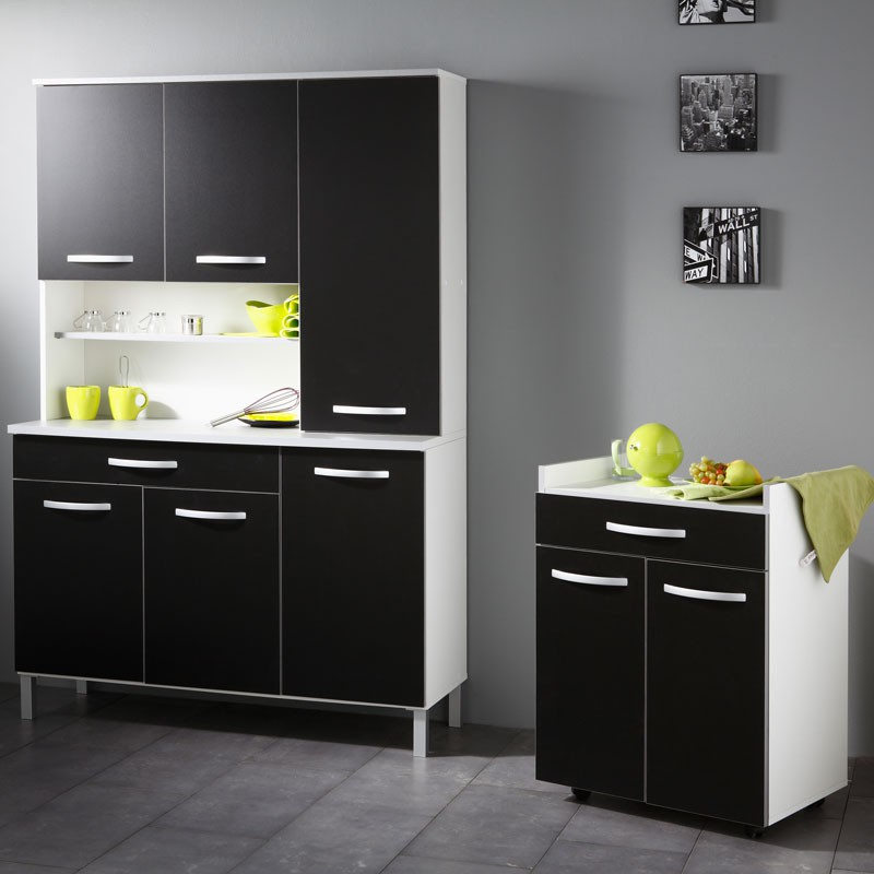 buffet desserte de cuisine noir timothy tousmesmeubles. Black Bedroom Furniture Sets. Home Design Ideas