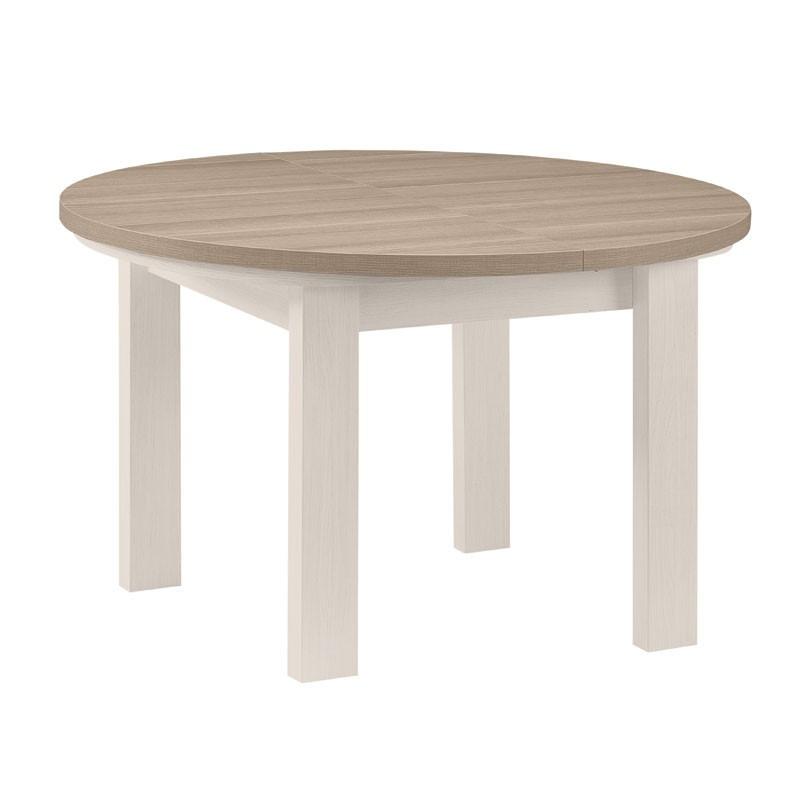 Table de repas ronde à allonge bois blanchi - Univers Salle à Manger : Tousmesmeubles