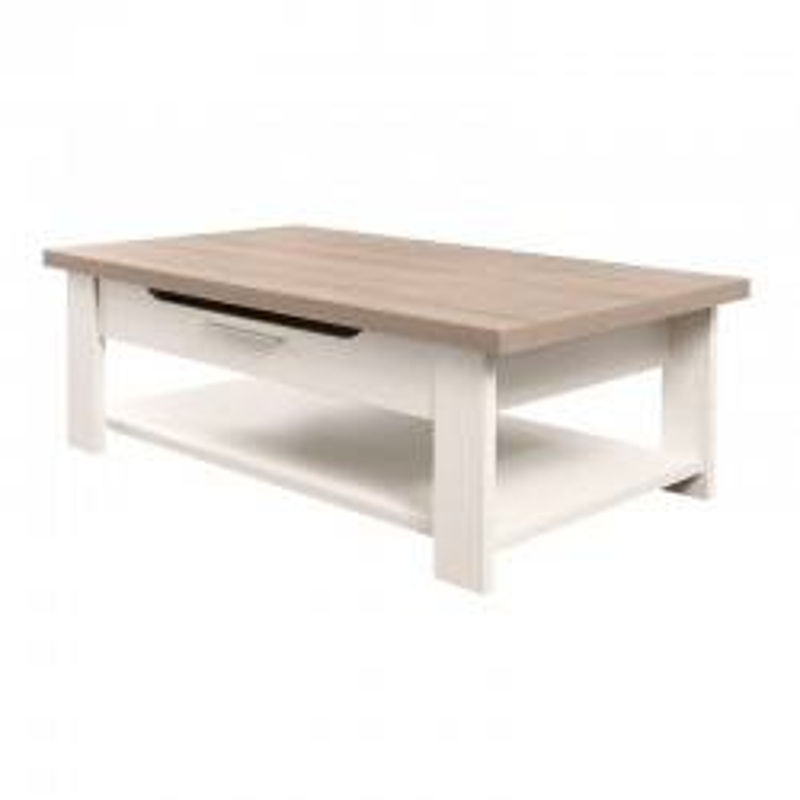 Table basse 1 tiroir Frêne Blanchi - POMPEI