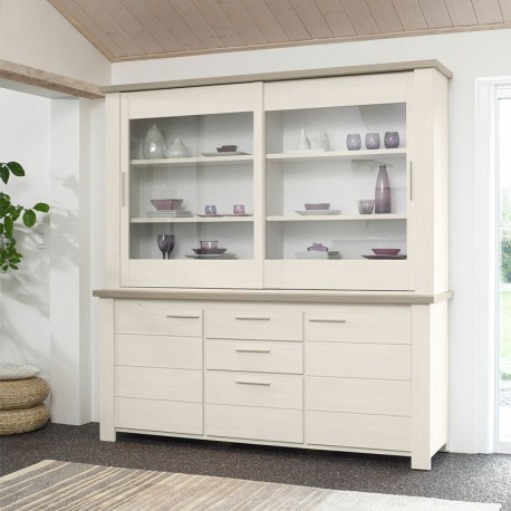 Vaisselier 4 portes 3 tiroirs bois blanchi - Univers Salle à Manger : Tousmesmeubles