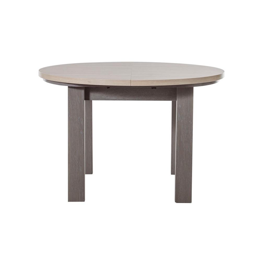 Table de repas ronde à allonge chêne gris campagne - Univers Salle à Manger : Tousmesmeubles
