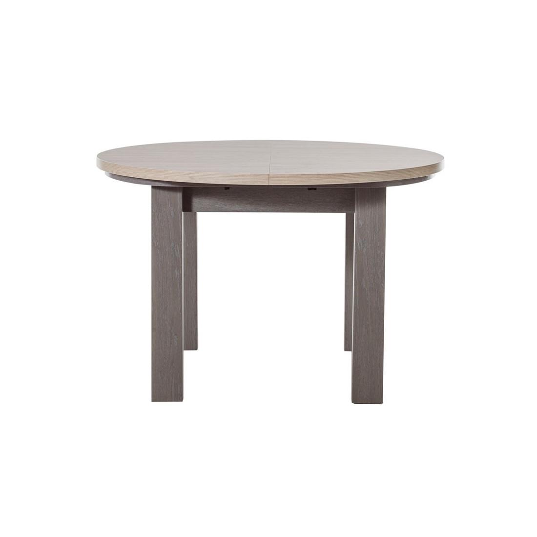 Table de repas ronde à allonge Chêne Gris Cérusé POMPEI