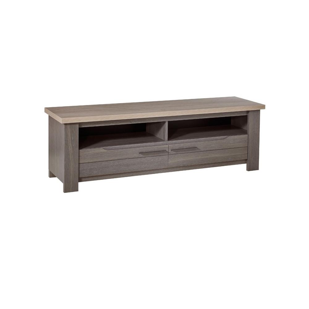 Meuble TV 2 tiroirs 2 niches bois gris campagne - Univers Salon : Tousmesmeubles