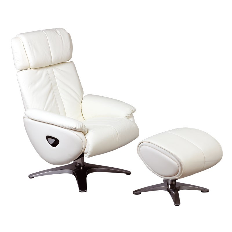 fauteuil de relaxation pouf cuir blanc vegas univers assises. Black Bedroom Furniture Sets. Home Design Ideas