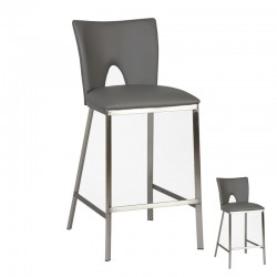 Duo de Tabourets de bar Simili cuir Gris contemporain - Univers Salon et Assises : Tousmesmeubles