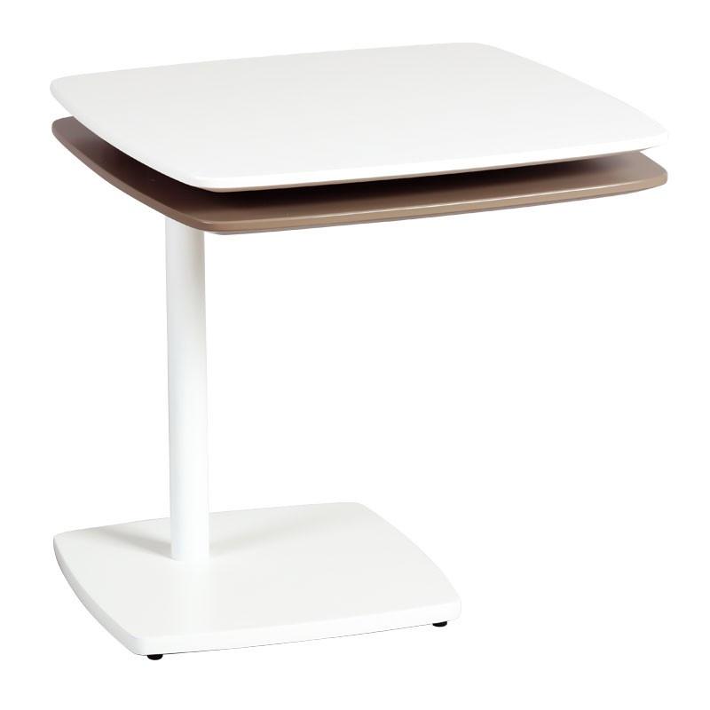Bout de canapé Blanc/Gris métal bois - Univers Salon et Petits Meubles : Tousmesmeubles