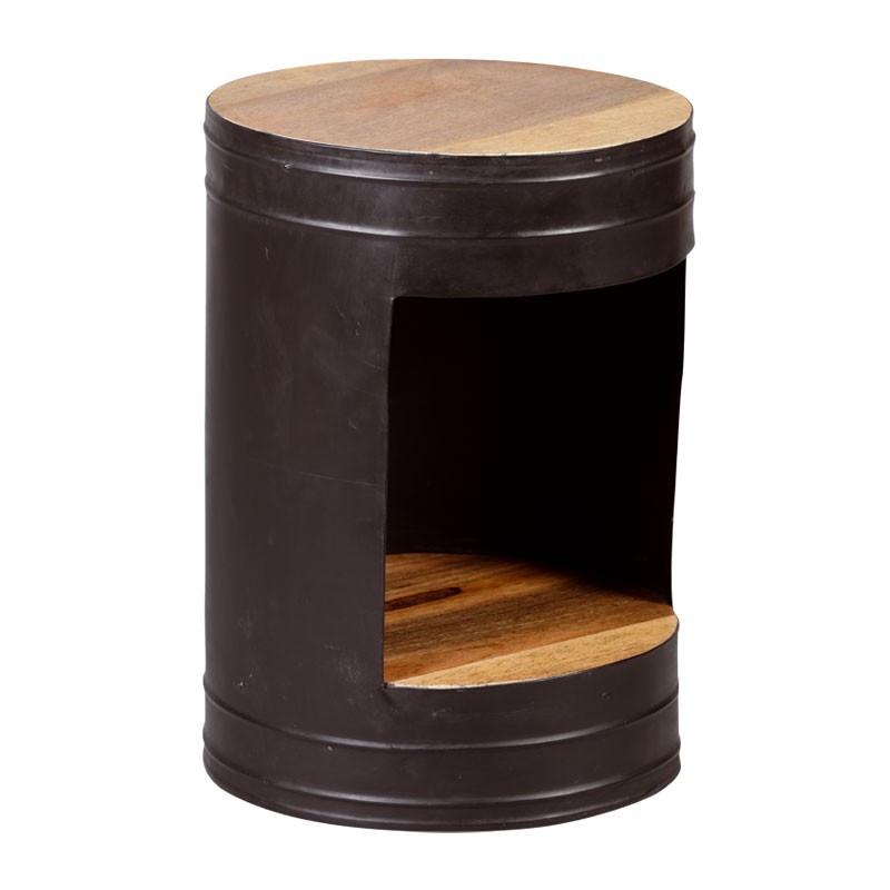 Guéridon rond bois métal industriel - Univers Salon et Petits Meubles : Tousmesmeubles
