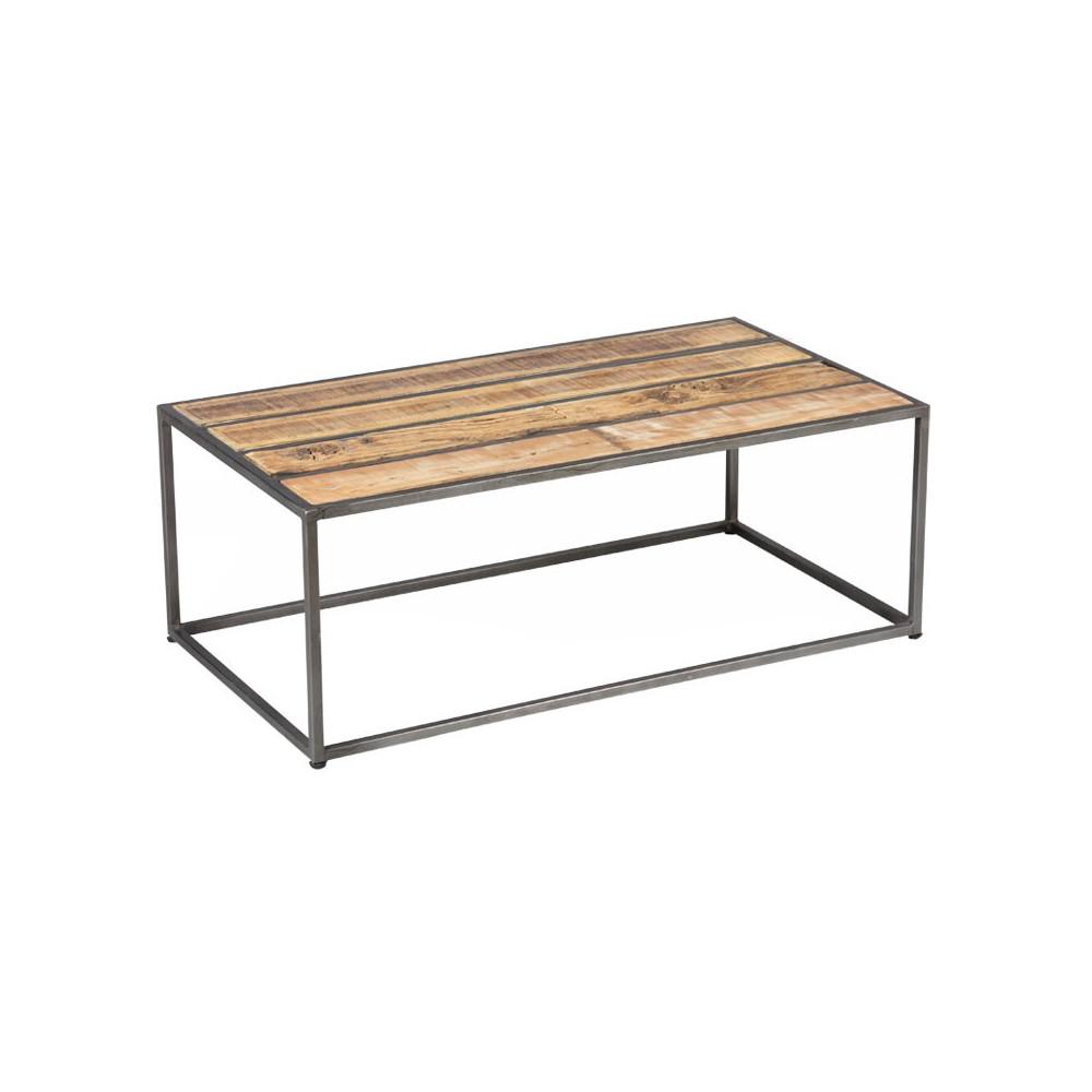 Table basse Métal/Bois industriel - Univers Salon : Tousmesmeubles