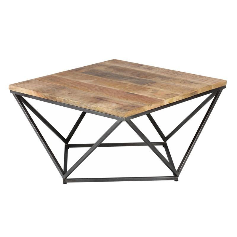 Table basse carrée Métal/Bois - KNOX