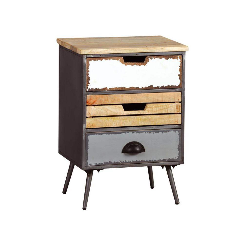 Table de chevet 3 tiroirs Bois/Métal SUPPLY n°2 industriel - Univers Chambre : Tousmesmeubles