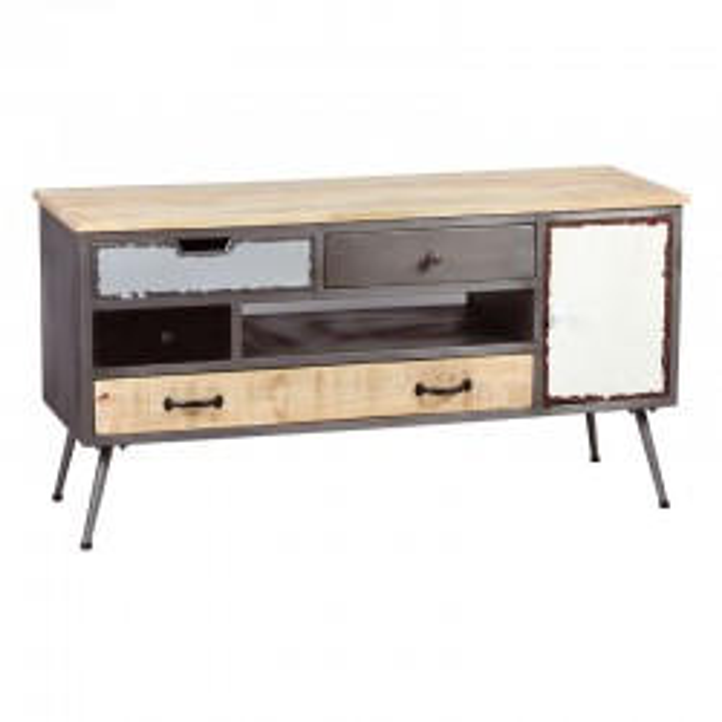 Meuble TV 1 porte 4 tiroirs Bois/Métal SUPPLY industiel - Univers Salon : Tousmesmeubles