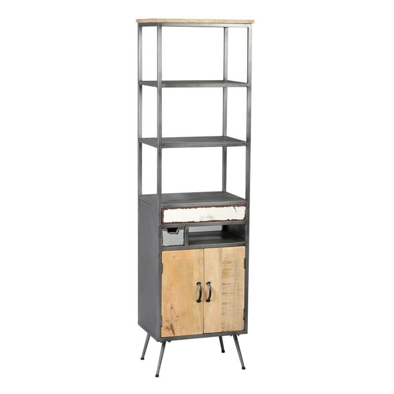 Étagère 2 portes 2 tiroirs Bois/Métal industriel SUPPLY - Univers Petits Meubles : Tousmesmeubles